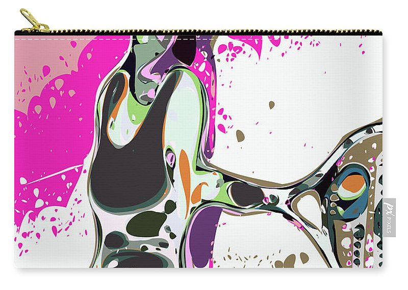 Tennis Carry-all Pouch featuring the digital art Abstract Female Tennis Player by Chris Butler