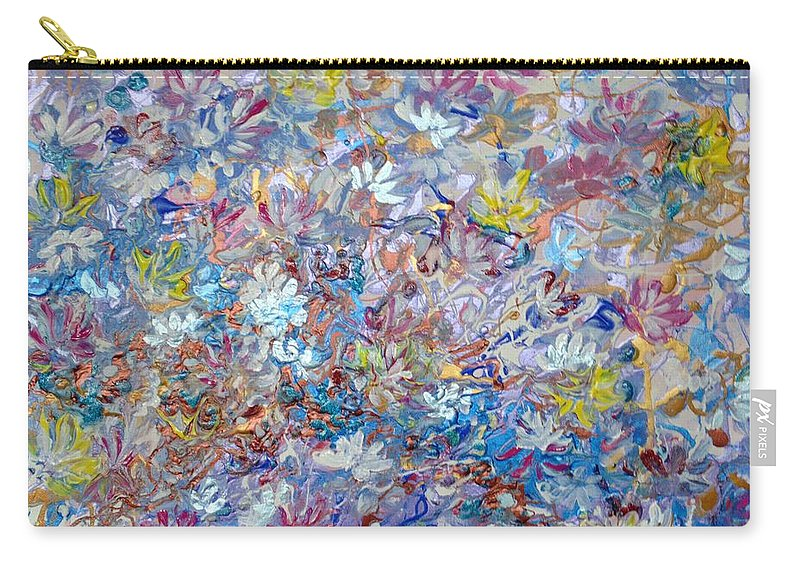 Purple Carry-all Pouch featuring the painting Abstract Floral by Karin Dawn Kelshall- Best