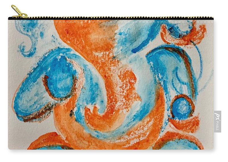 Ganesha Carry-all Pouch featuring the painting Abstract Ganesha by Brindha Naveen