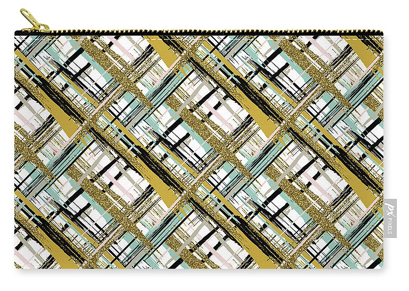 Abstract Carry-all Pouch featuring the digital art Abstract Gold Lines by Long Shot