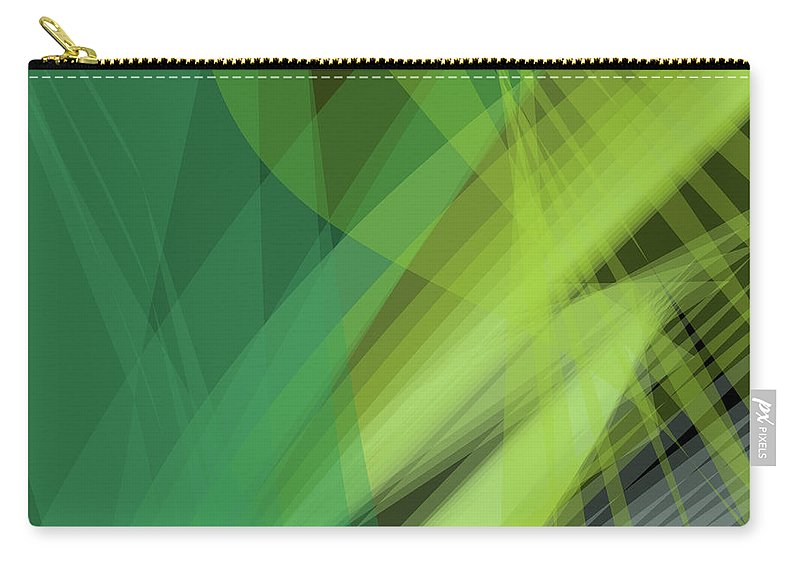 Background Carry-all Pouch featuring the digital art Abstract Green Vector Background Banner, Transparent Wave Lines by Svetlana Corghencea