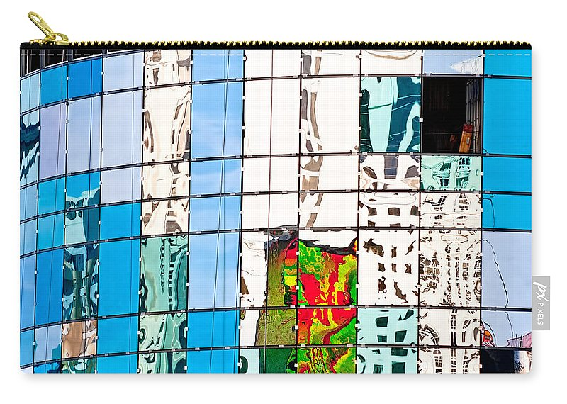 Building Carry-all Pouch featuring the photograph Abstract In The Windows by Christopher Holmes