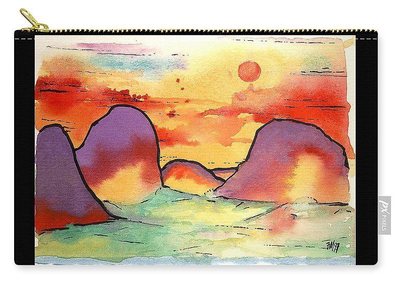 Abstract Landscape Carry-all Pouch featuring the painting Abstract Landscape 006 by Joe Michelli