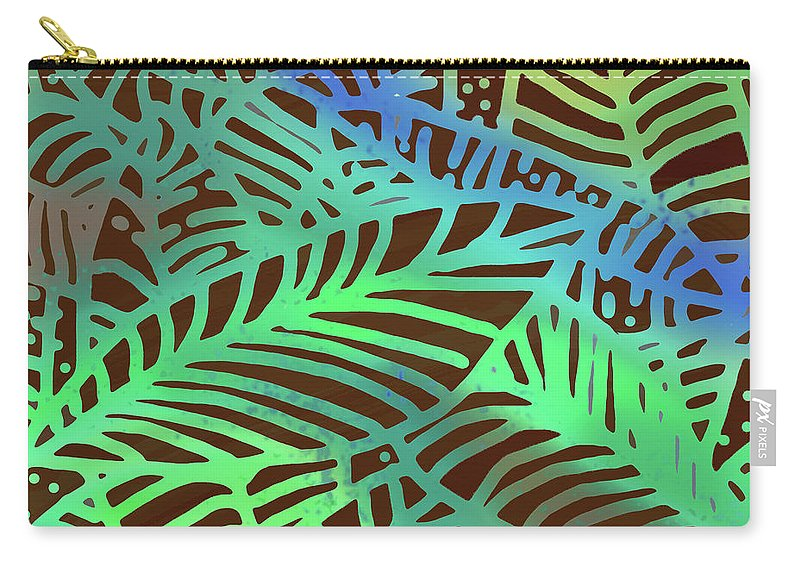 Carry-all Pouch featuring the digital art Abstract Leaves Cocoa Green by Karen Dyson