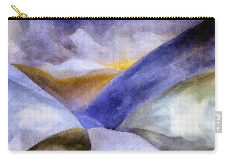 Blue Carry-all Pouch featuring the painting Abstract Mountain Landscape by Michelle Calkins