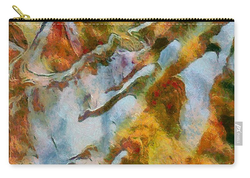 Abstract Landscape Carry-all Pouch featuring the mixed media abstract mountains I by Dragica Micki Fortuna