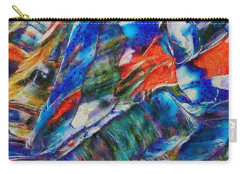 Abstract Carry-all Pouch featuring the mixed media abstract mountains II by Dragica Micki Fortuna