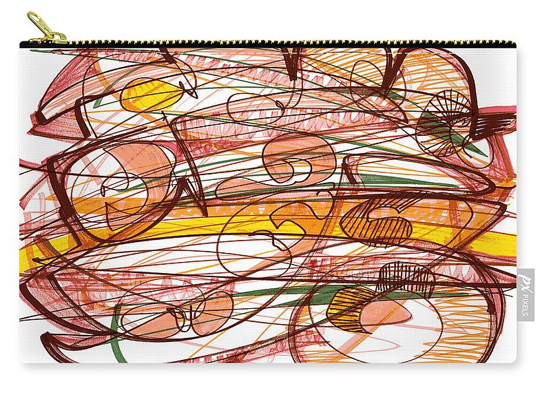 Abstract Art Carry-all Pouch featuring the drawing Abstract Pen Drawing Eight by Lynne Taetzsch