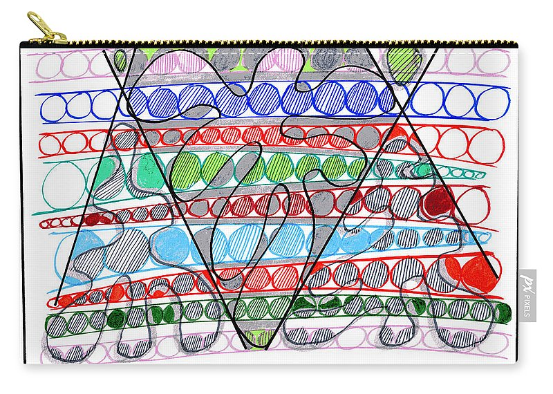 Abstract Art Carry-all Pouch featuring the drawing Abstract Pen Drawing Thirteen by Lynne Taetzsch
