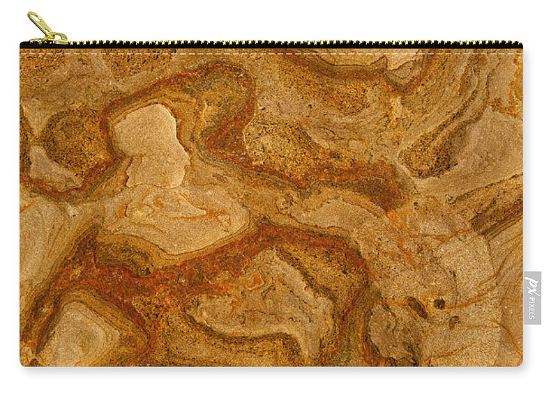 Coastal Rock Carry-all Pouch featuring the photograph Abstract Rock With Swirling Lines by Sharon Foelz