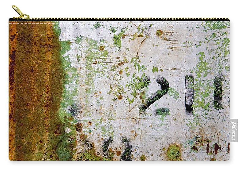 Numbers Carry-all Pouch featuring the photograph Rust Absract With Stenciled Numbers by Sharon Foelz