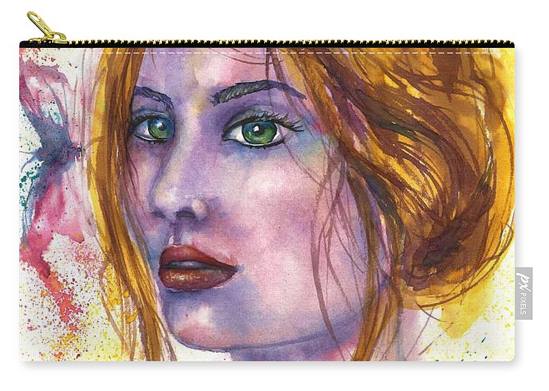 Women Face Carry-all Pouch featuring the painting Abstract women face by Natalja Picugina
