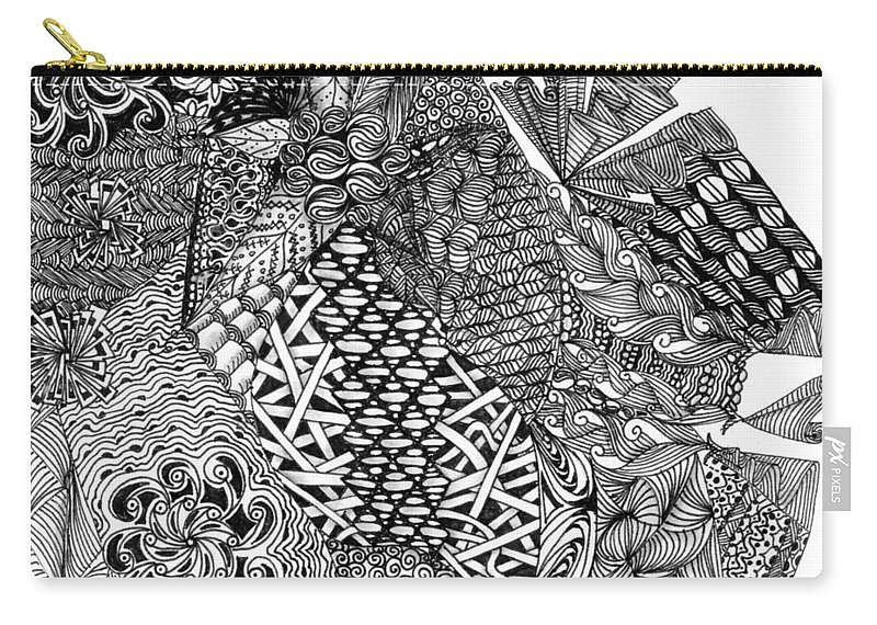Abstract Carry-all Pouch featuring the drawing Abstract Zentangle Inspired Design In Black And White by Eric Strickland