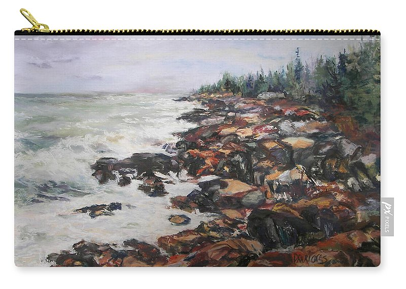 Acadia National Park Carry-all Pouch featuring the pastel Acadian Afternoon by Alicia Drakiotes