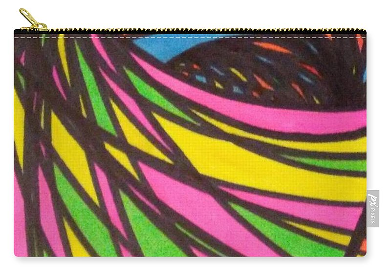Aceo Carry-all Pouch featuring the drawing Aceo Abstract Spiral by Jill Christensen