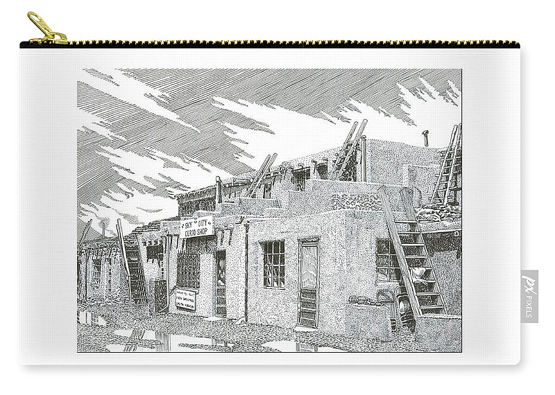 Images Of Acoma Sky City Acoma Carry-all Pouch featuring the drawing Acoma Sky City by Jack Pumphrey