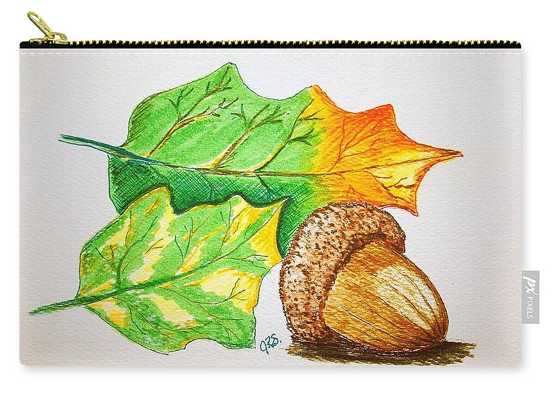 Stationery Card Carry-all Pouch featuring the drawing Acorn And Leaves by J R Seymour
