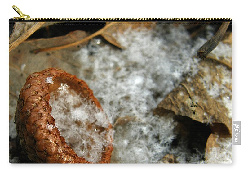 Acorn Carry-all Pouch featuring the photograph Acorn Cap Filled With Snow by Kimberly Mohlenhoff