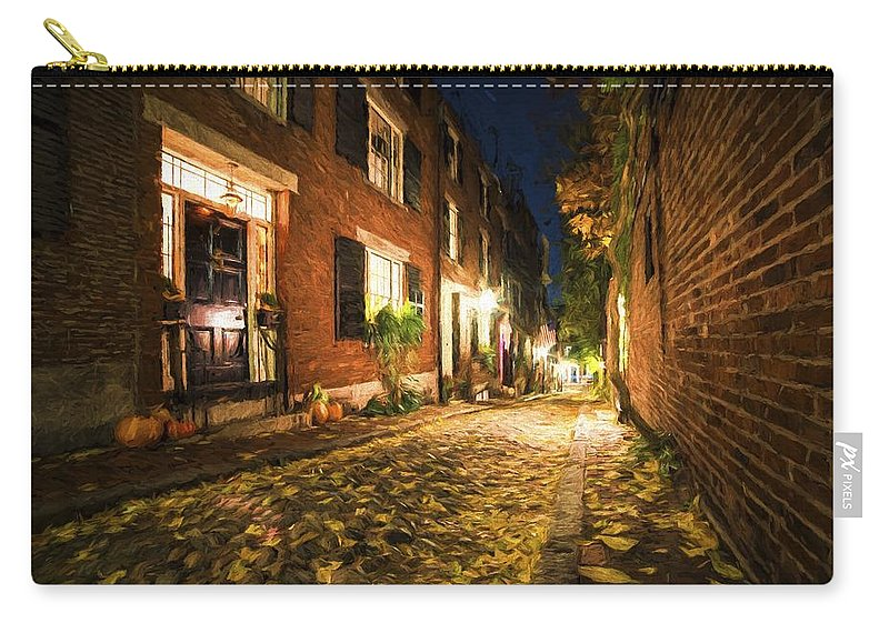 Acorn Carry-all Pouch featuring the photograph Acorn Street Autumn Boston Mass Painterly by Toby McGuire