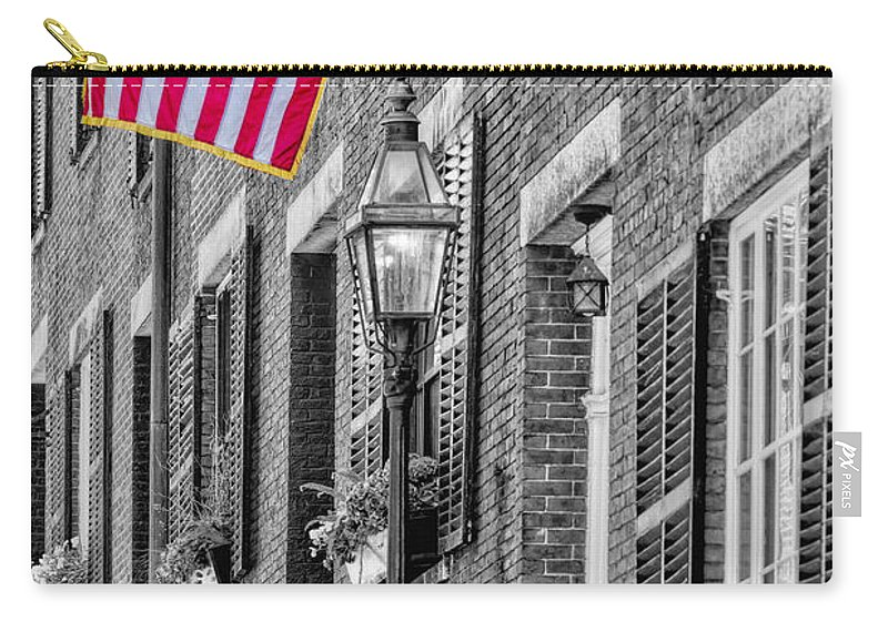 Acorn Street Carry-all Pouch featuring the photograph Acorn Street Details Sc by Susan Candelario