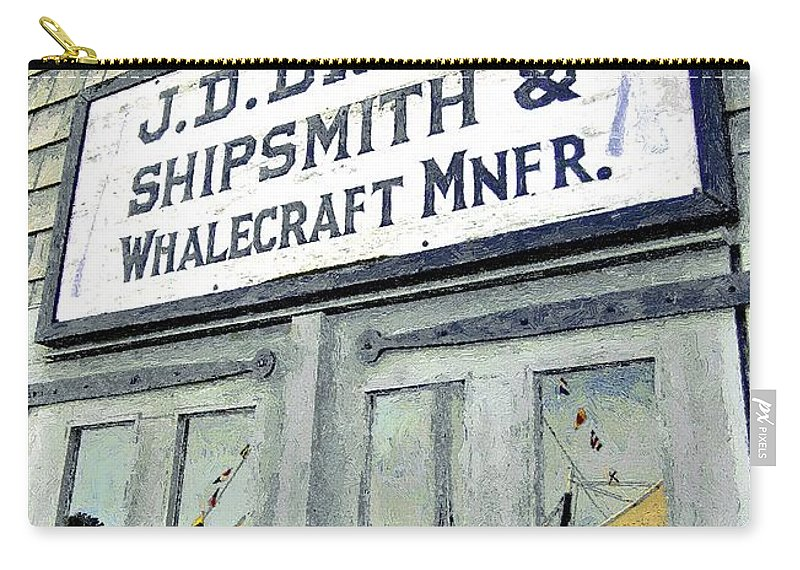 Sign Carry-all Pouch featuring the painting Across From The Harbor by RC DeWinter