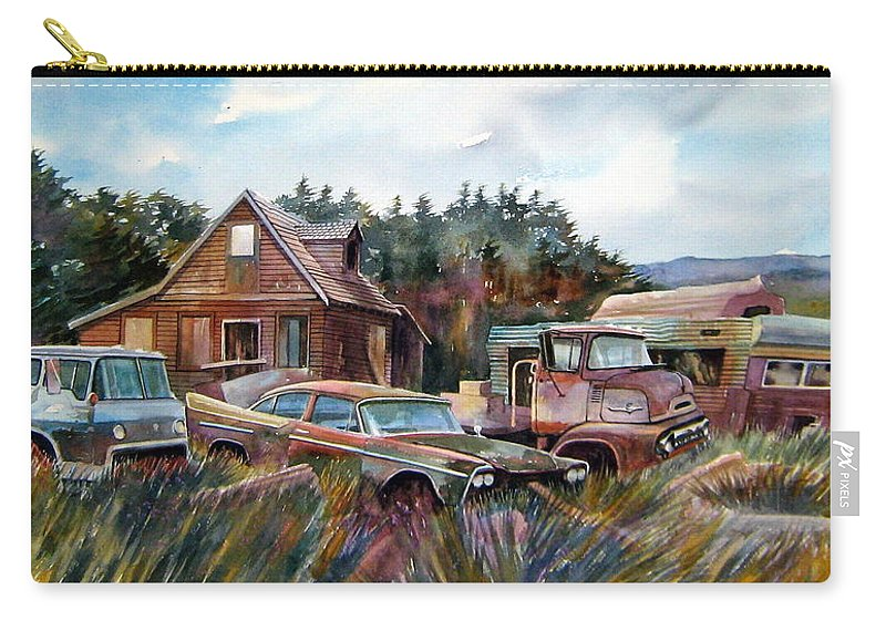 Cars Carry-all Pouch featuring the painting Across The Road And Gone by Ron Morrison