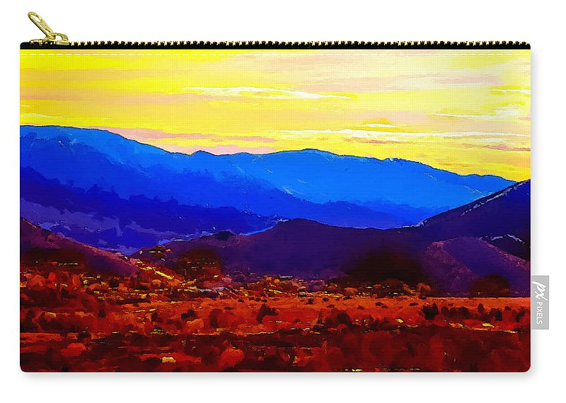 Abstract Carry-all Pouch featuring the painting Acton California Sunset by Dr Bob Johnston