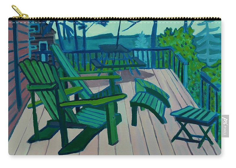 Ocean Carry-all Pouch featuring the painting Adirondack Chairs Maine by Debra Bretton Robinson