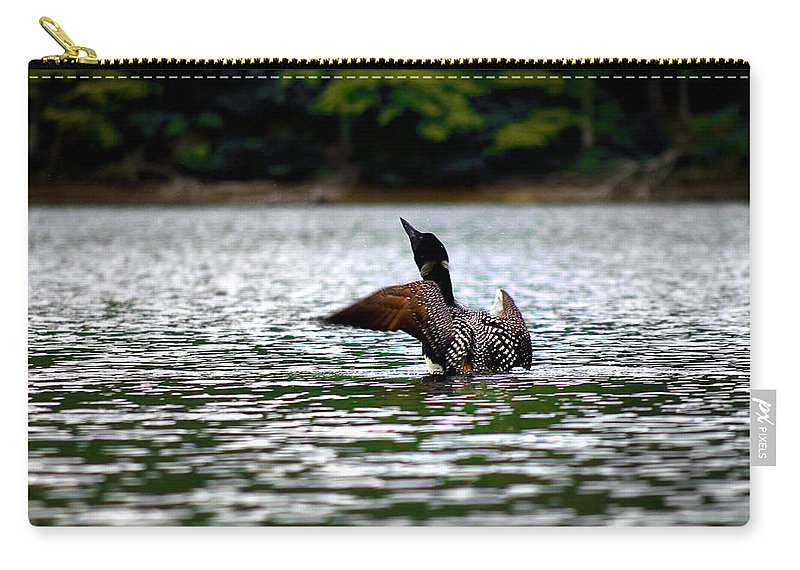 Loon Carry-all Pouch featuring the photograph Adirondack Loon 4 by Tony Beaver