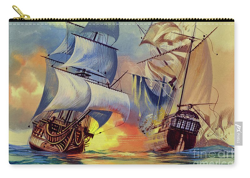 History Carry-all Pouch featuring the painting Admiral Hood's Fleet In The West Indies by Ron Embleton