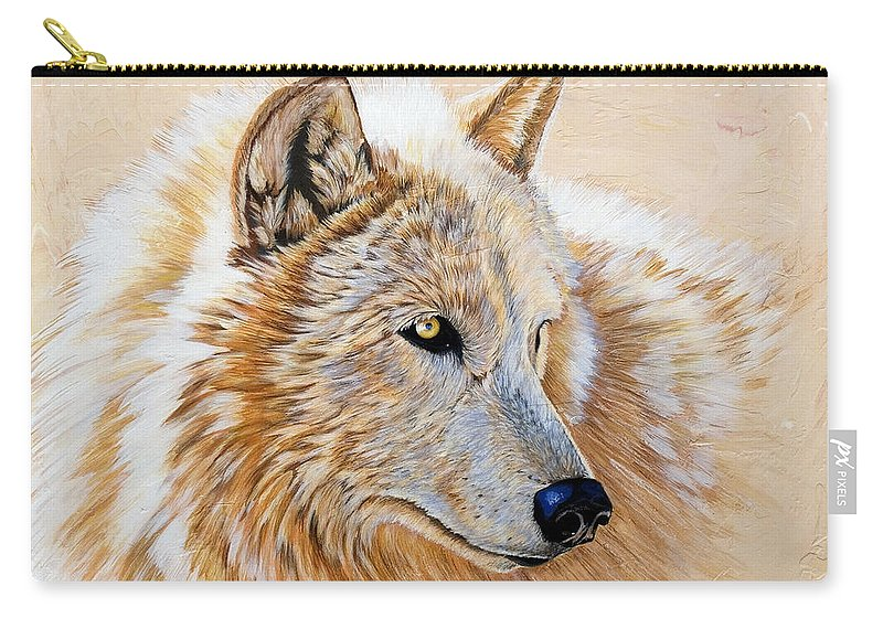 Acrylic Carry-all Pouch featuring the painting Adobe White by Sandi Baker
