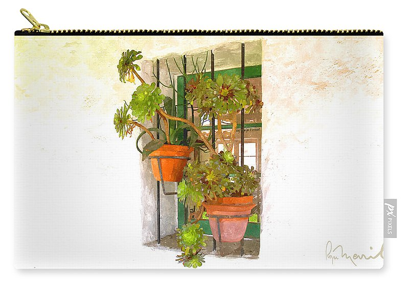 San Clemente Carry-all Pouch featuring the digital art Adobe Window by Roger Merrill