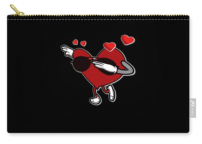 Cute-heart Carry-all Pouch featuring the drawing Adorable Cool Dabbing Heart by The Perfect Presents