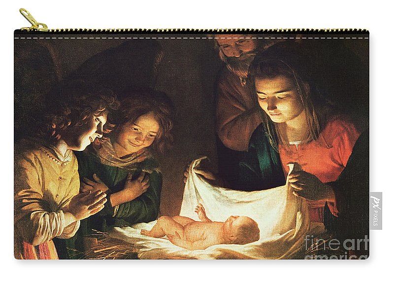 Adoration Of The Baby Carry-all Pouch featuring the painting Adoration Of The Baby by Gerrit van Honthorst