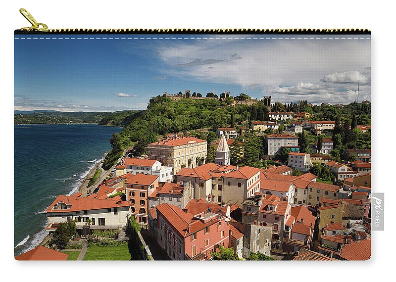 Aerial Carry-all Pouch featuring the photograph Aerial Of Piran Slovenia On Gulf Of Trieste Adriatic Sea With St by Reimar Gaertner