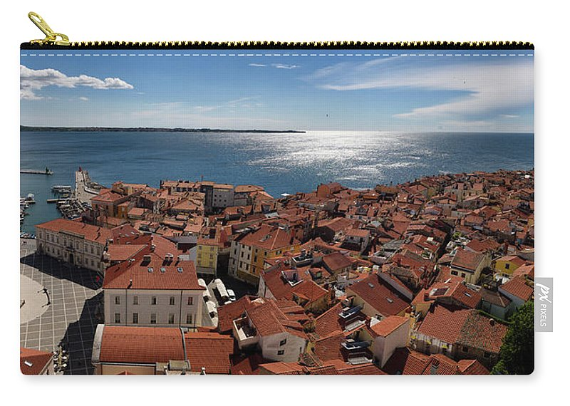 Aerial Carry-all Pouch featuring the photograph Aerial Panorama Of Piran Slovenia On Adriatic Sea With Marina An by Reimar Gaertner