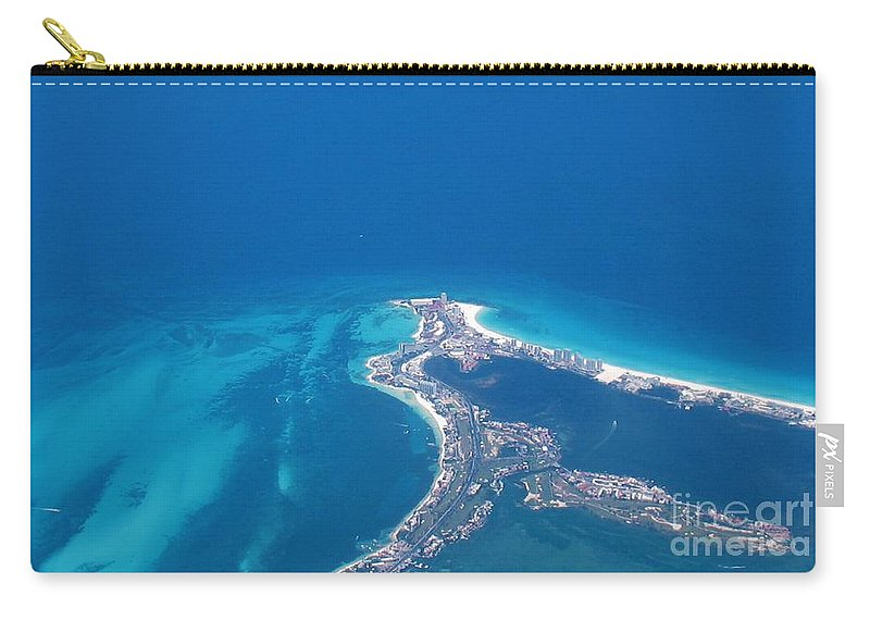 Aerial View Of Cancun Carry-all Pouch featuring the photograph Aerial View Of Cancun by Patti Whitten