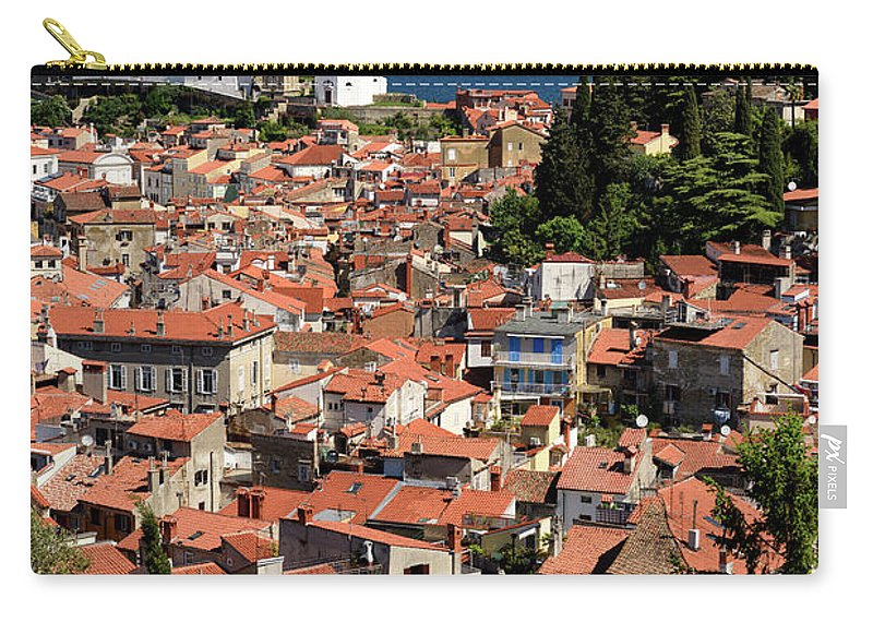 Piran Carry-all Pouch featuring the photograph Aerial View Of Piran Slovenia With St George's Cathedral On The by Reimar Gaertner