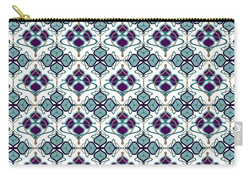 Blue Pattern Carry-all Pouch featuring the digital art Aerin by Ceil Diskin