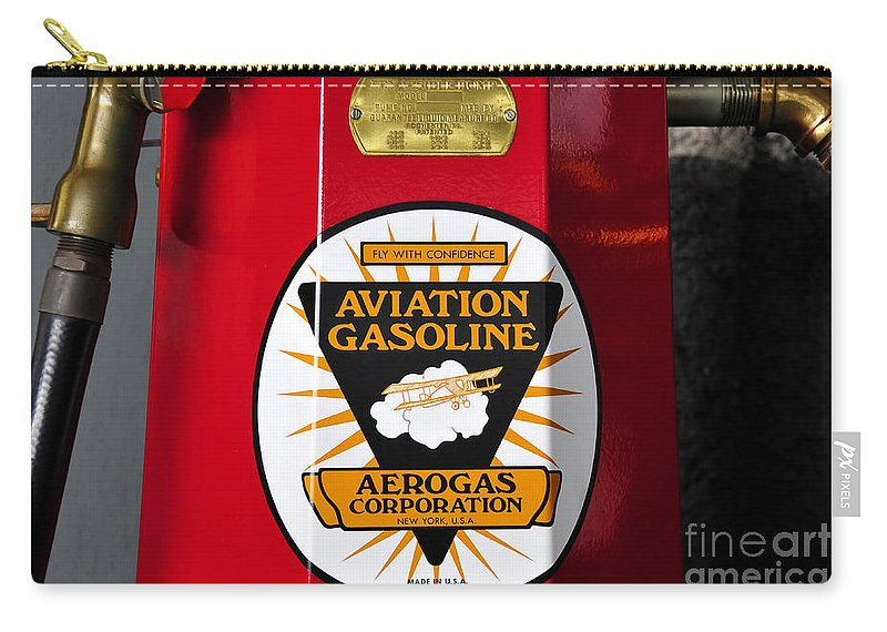 Fine Art Photography Carry-all Pouch featuring the photograph Aerogas Red Pump by David Lee Thompson