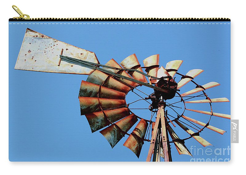 Agriculture Carry-all Pouch featuring the photograph Aeromotor In Color by Alan Look