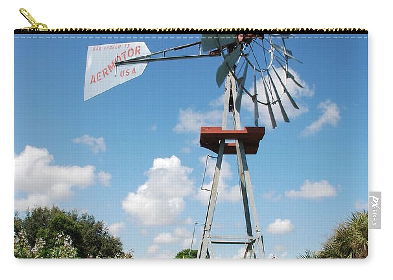Blue Carry-all Pouch featuring the photograph Aeromotor Windmill by Rob Hans