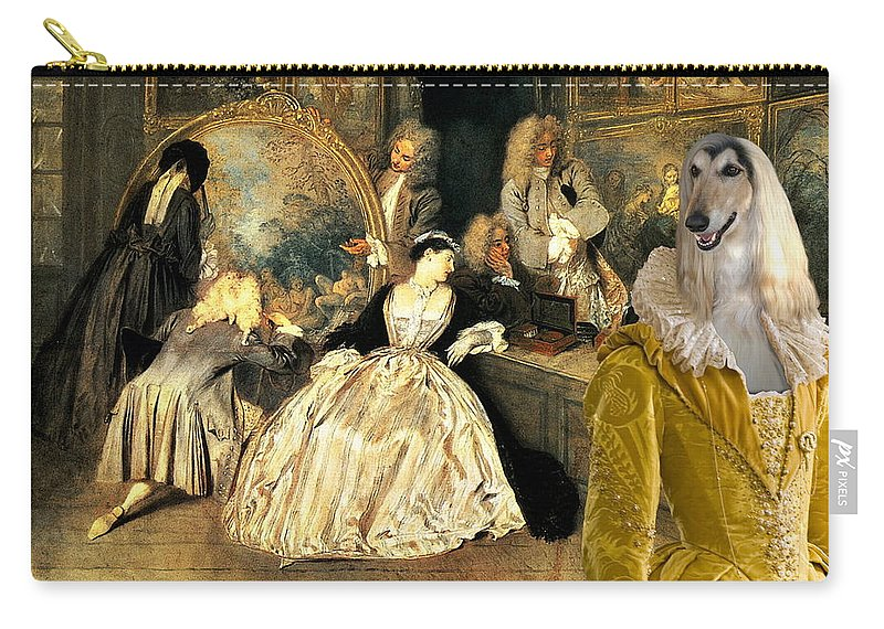 Afghan Hound Canvas Carry-all Pouch featuring the painting Afghan Hound-at The Artdealer's Shop Canvas Fine Art Print by Sandra Sij