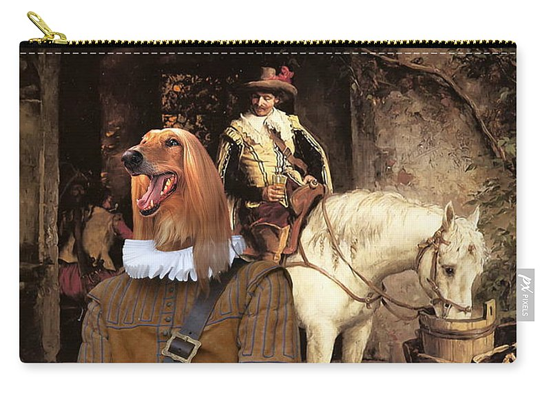 Afghan Hound Canvas Carry-all Pouch featuring the painting Afghan Hound-at The Tavern Canvas Fine Art Print by Sandra Sij