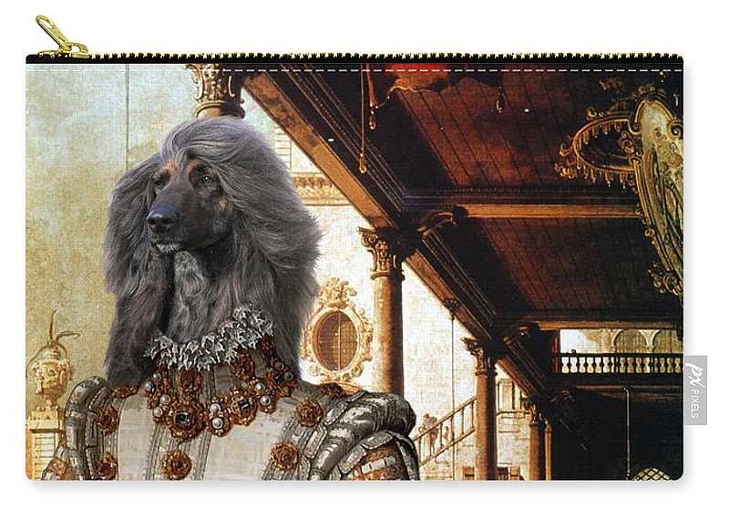 Afghan Hound Canvas Carry-all Pouch featuring the painting Afghan Hound-capriccio Of Colonade And The Courtyard Of A Palace Canvas Fine Art Print by Sandra Sij