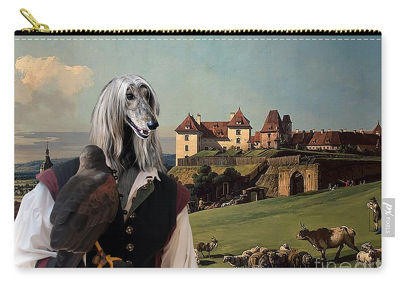 Afghan Hound Canvas Carry-all Pouch featuring the painting Afghan Hound-falconer And Castle Canvas Fine Art Print by Sandra Sij