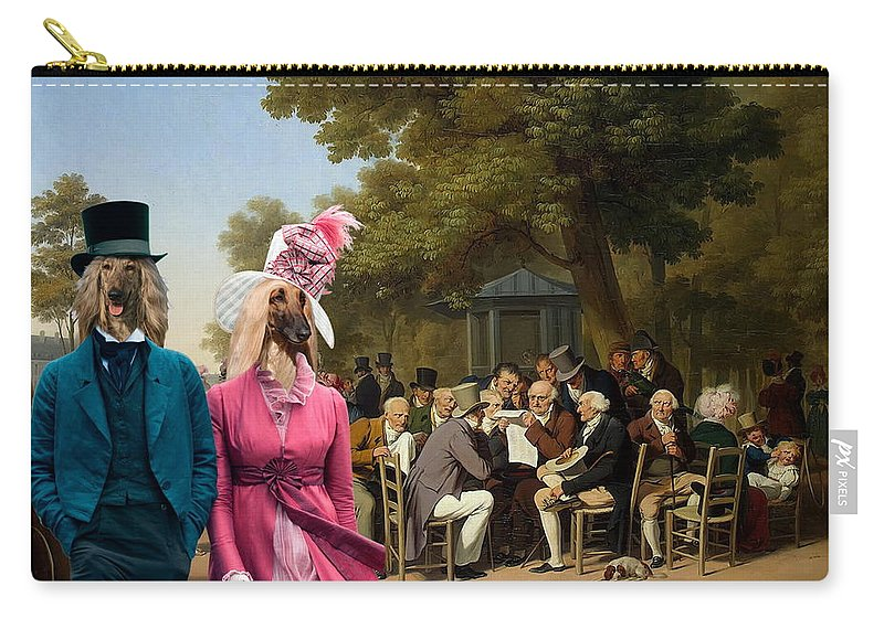 Afghan Hound Canvas Carry-all Pouch featuring the painting Afghan Hound-politicians In The Tuileries Gardens Canvas Fine Art Print by Sandra Sij