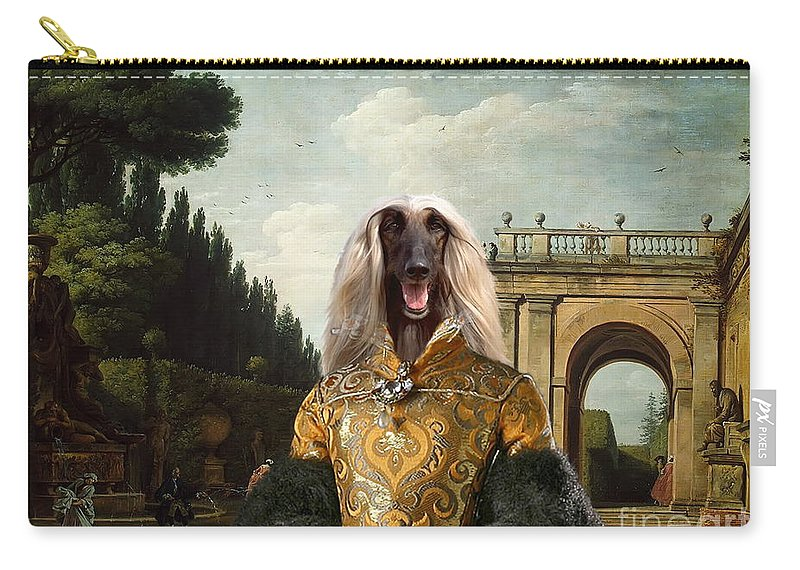 Afghan Hound Canvas Carry-all Pouch featuring the painting Afghan Hound-the Afternoon Promenade In Rome Canvas Fine Art Print by Sandra Sij