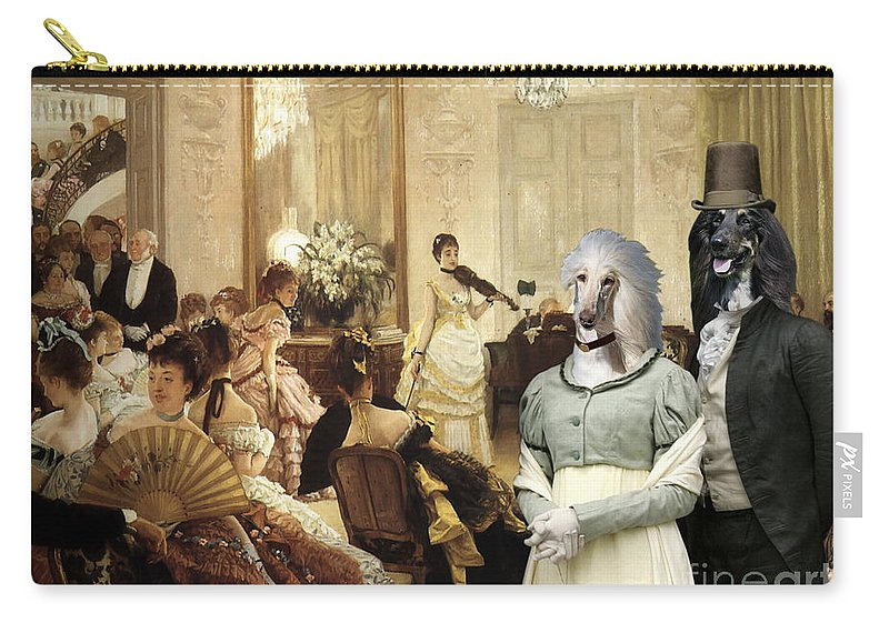Afghan Hound Canvas Carry-all Pouch featuring the painting Afghan Hound-the Concert Canvas Fine Art Print by Sandra Sij