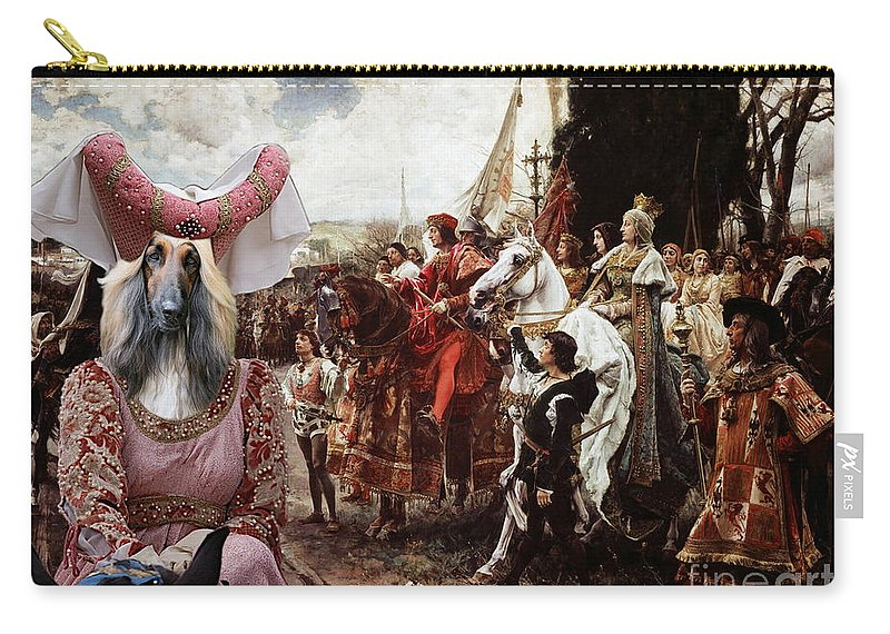 Afghan Hound Canvas Carry-all Pouch featuring the painting Afghan Hound-the Reverance To The Queen Canvas Fine Art Print by Sandra Sij
